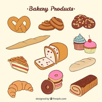 Ręcznie rysowane produkty ładne piekarni