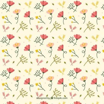 Ręcznie rysowane słodkie kwiaty wzór