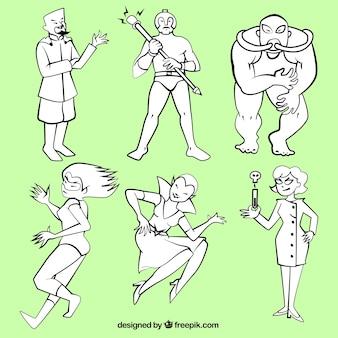 Ręcznie rysowane superbohaterowie