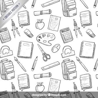 Ręcznie rysowane szkoła wzór sprzęt