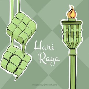 Ręcznie rysowane tła Hari Raya