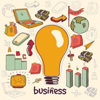 Ręcznie rysowane tła z żarówką i przedmiotów biznesowych