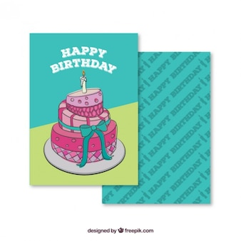 Ręcznie rysowane tort urodzinowy karty