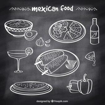 Ręcznie rysowane typowe meksykańskie jedzenie w stylu tablicy