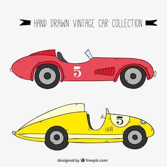 Ręcznie rysowane zabytkowe samochody wyścigowe