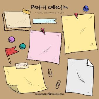 Ręcznie rysowane zbiór referatów i post-it