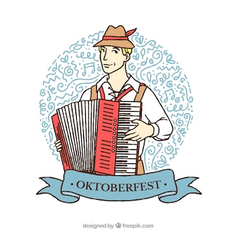 R? Cznie narysowany niemiecki tle z akordeonu
