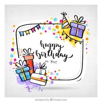 R? Cznie rysowane prezenty urodzinowe tle