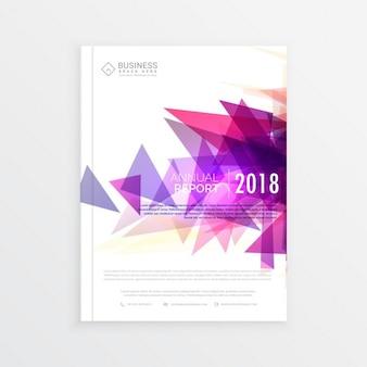 Raport roczny projekt broszura szablon z abstrakcyjnymi kształtami trójkąt w kolorze różowym
