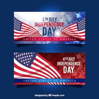 Realistyczne amerykańskie flagi dzień niepodległości banery