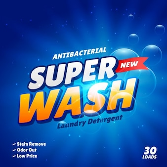 Reklama detergentu szablon projektowanie koncepcja produktu