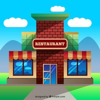 Restauracja Budynek w płaskiej konstrukcji