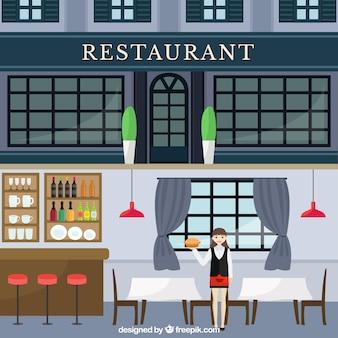 Restauracja w płaskiej konstrukcji