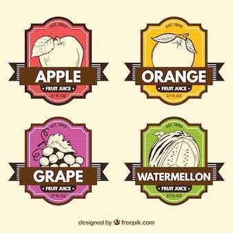 Retro etykiety ręką rysowane owoce