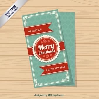 Retro kartki świąteczne z czerwoną wstążką