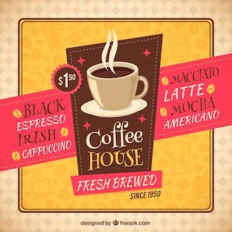 Retro kawiarnia ulotki