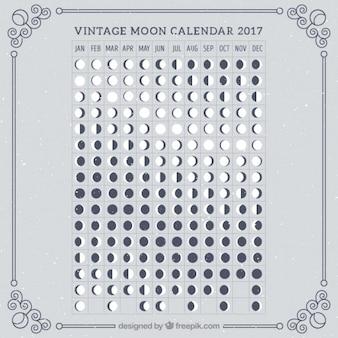 Retro księżyca kalendarz 2017