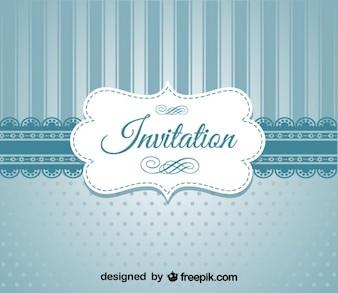 Retro niebieski elegancki wzór zaproszenie