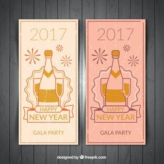 Retro nowy rok transparenty