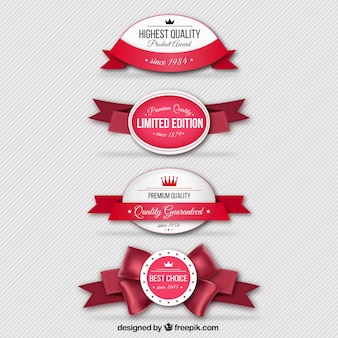Retro odznaki z czerwonymi wstążkami