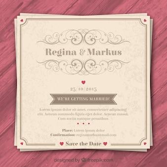 Retro zaproszenie na ślub