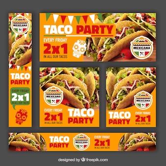 Różne banery oferują meksykańską restaurację