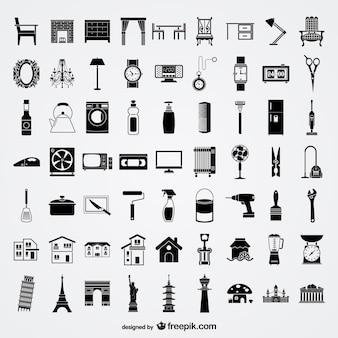 Różne elementy szkicu materialnych elementów wektorowych stylu życia