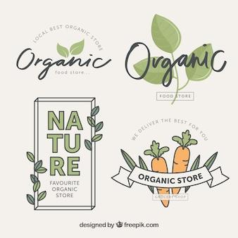 Różne etykiety żywności ekologicznej w płaskim stylu