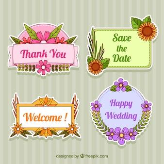 Różne etykiety kwiatowe