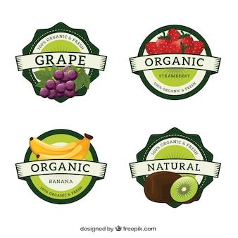 Różne etykiety owoców okrągłych