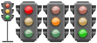 Różne kolory sygnalizacji świetlnej