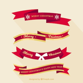 Różne ozdobne wstążki Boże Narodzenie