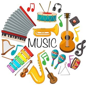 Różne rodzaje instrumentów muzycznych
