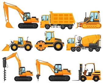Różne typy ciężarówek budowlanych
