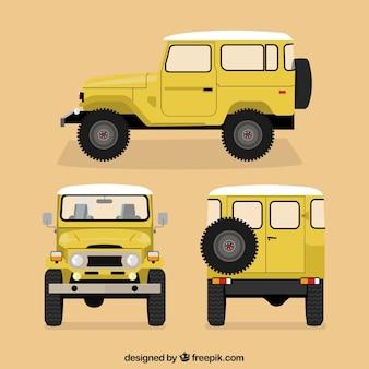 Różne widoki żółtego samochodu offroad
