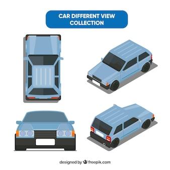 Różne widoki starego niebieskiego samochodu