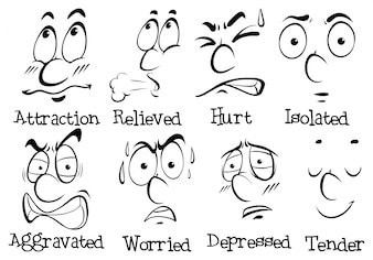 Różne wyrażenia twarzy ze słowami