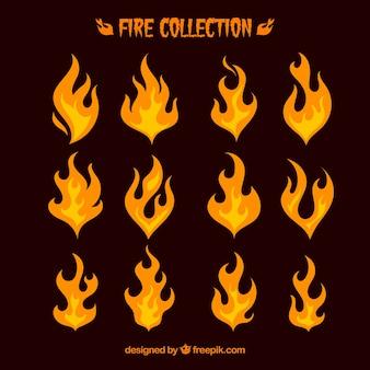 Różnorodność płomieni w płaskim stylu