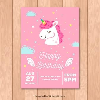Różowa karta urodzinowa ze ślicznym jednorożcem