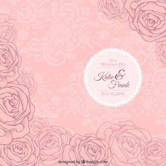 Różowe róże zaproszenie na ślub