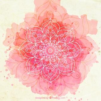 Różowe tło akwarela szkicowy mandala