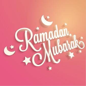 Różowy ramadan tle gwiazd i księżyców