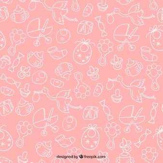 Różowy wzór baby shower