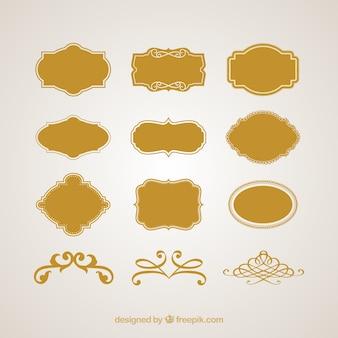 Rocznika loga ramki i wektor zestaw znaków