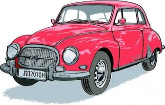 Rocznika samochodu czerwony