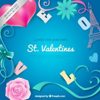 Romantyczne elementy Valentine tle