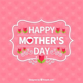 Różowy Szczęśliwy Dzień Matki tło pełne serc