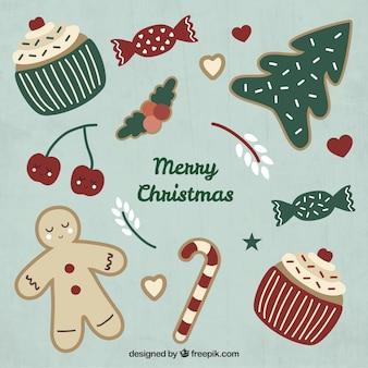 Rysowane Boże Narodzenie zestaw ikon