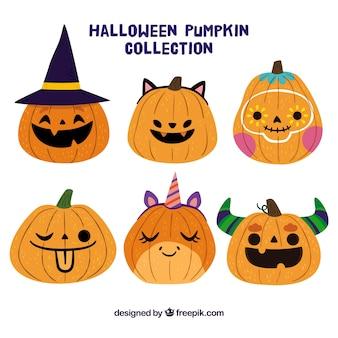 Słodkie halloween zestaw dyni