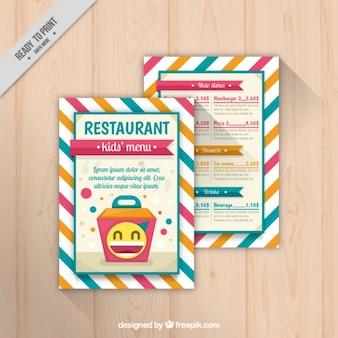 Słodkie menu dla dzieci z paski tle